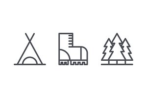 Camping icons, outdoor recreation