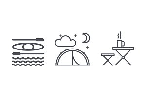 Travel and camping icons, outdoor