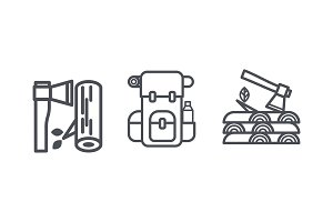 Camping and hiking icons, outdoor