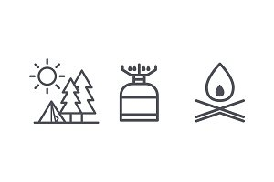 Recreation and camping icons