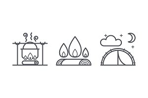 Camping icons, outdoor activity and