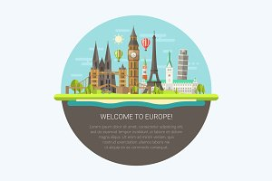 Welcome to Europe Postcard