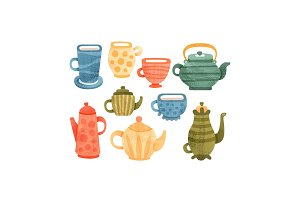 Tea time set, collection of cups