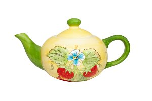 Color china teapot isolated on white