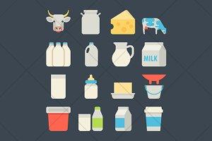 milk flat icons