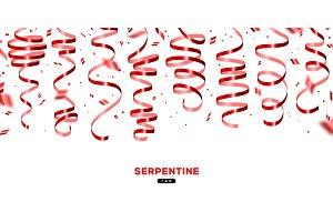 Shiny red serpentine and confetti