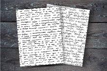 Handwritten text. Seamless patterns.