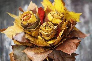 Handmade decor of fall autumn leaves