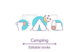 Camping night concept icon