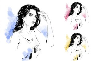 Fashion illustration, portrait