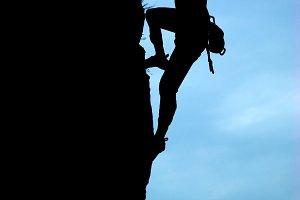 Silhouette of climber