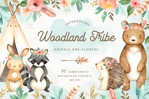 Woodland Tribe Watercolor Clip Art