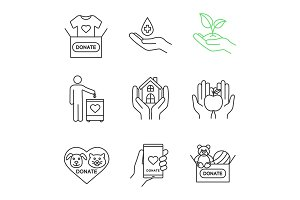 Charity linear icons set