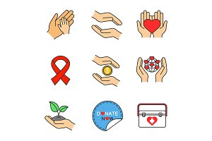 Charity color icons set