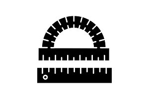 Protractor and ruler glyph icon