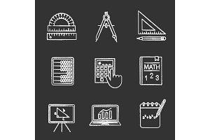 Mathematics chalk icons set