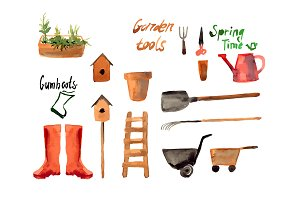 №5 Set watercolor of gardening tool