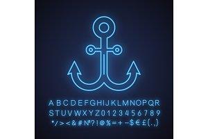 Anchor neon light icon