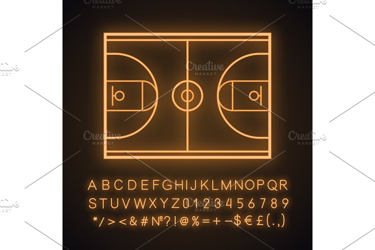 Basketball court neon light icon