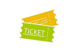Tickets flat glyph color ico