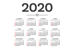 Calendar 2020 Isolated on White Back