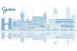 Outline Genoa Italy City Skyline
