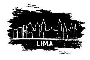 Lima Peru City Skyline Silhouette.