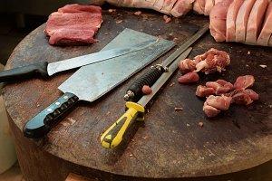 Cut Steaks Meat Cleaver