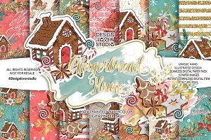 Gingerbread house digital paper pack