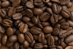 Brown coffee beans, closeup macro