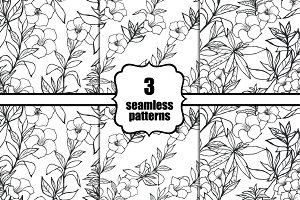 3 seamless floral patterns