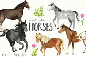 Watercolor Horses Clipart Pack