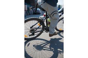 Cyclist in maximum effort in a city