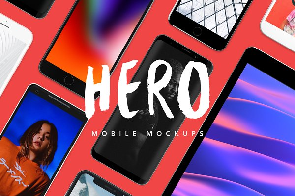 Mobile &amp&#x3B; Web Mockups: Craftwork Design - HERO Mobile Mockups Bundle