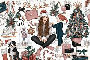 Holiday Fashion Girl Clip Art