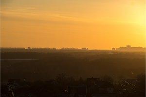 Landscape city sunrise magic hour