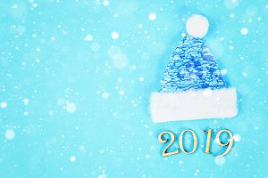 Text 2019 year. Winter cap and mitte