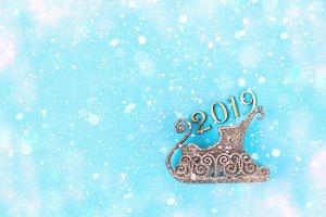 Text 2019 year. Sledge, team on a bl
