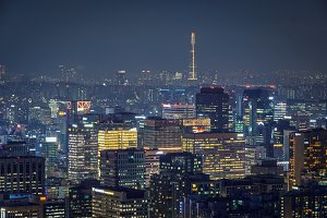 Seoul skyline in the night, South