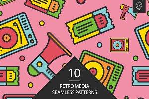 Retro media seamless patterns