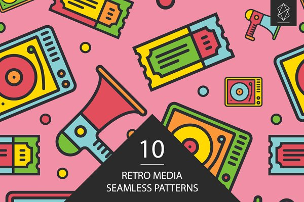 Patterns - Retro media seamless patterns