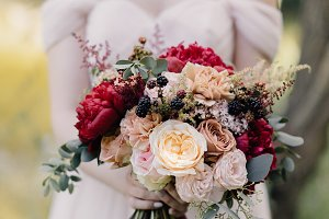red-white bride's bouquet