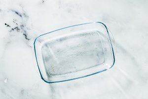 Glass pan for baking on a marble tab