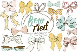 Tied Bow ClipArt Hand Drawn Ribbons