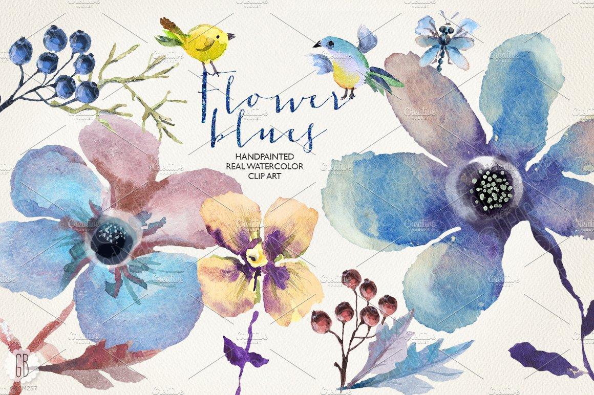 Aquarelle Blue Flowers Custom Designed Illustrations