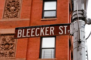 Bleecker Street road sign in