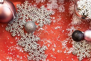 Christmas decorations and snowflakes