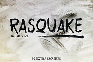 RASQUAKE brush font + EXTRA swashes