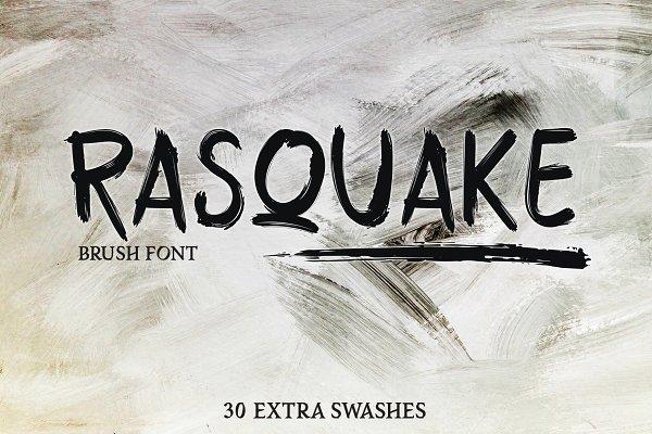 RASQUAKE brush font + EXTRA swashes