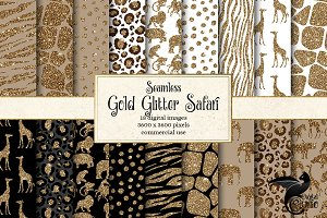 Gold Glitter Safari Digital Paper